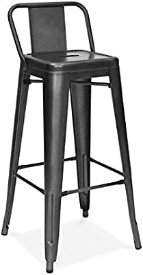 Amazon Com Ac Pacific Modern Industrial Metal Barstool With Bucket Back And 4 Leg