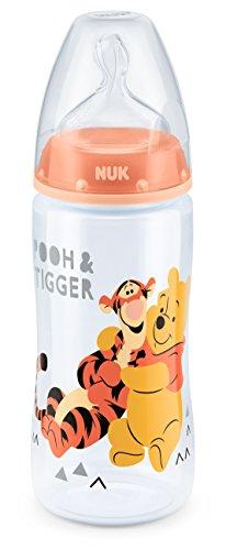 NUK Disney Winnie First Choice Plus Flasche aus PP, kiefergerechter Silikon-Trinksauger, BPA frei, 6-18 Monate, M, lachs
