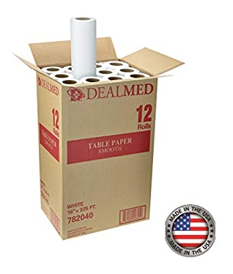 """Dealmed Smooth Table Paper for Pattern-Making, Drafting, and Tracing, 18"""" x 225 ft, White, 12 Rolls"""