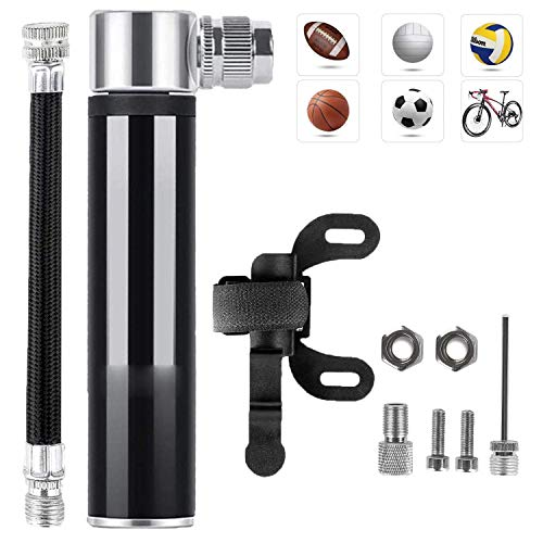 Mini Bomba De Bicicleta, Bomba de Mano Pequeña, 120 PSI - Mini Bomba de Aire Inflador, con Marco fijo, Tuerca de tornillo, Aguja de gas, Manguera, Valvulas, para Bicicletas de Montaña/Moto