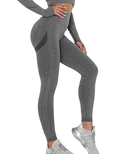SLIMBELLE Leggings Push Up Mujer Mallas Diportivas Cintura Alta Leggings Pantalones Moda Sin Costura para Yoga Fitness Deporte Running Elástico y Transpirable Nada Transparente Anticelulitico
