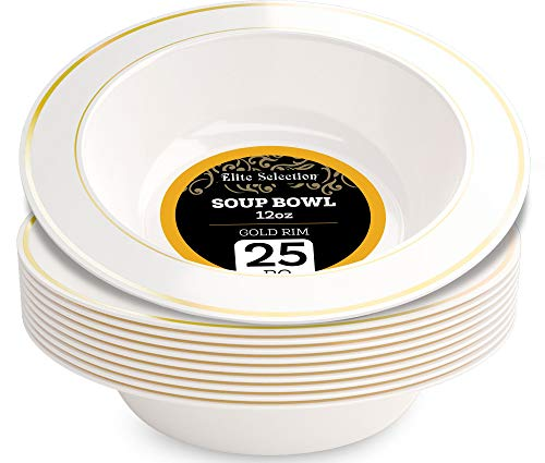 Disposable Plastic Bowls Pack Of (25) Elegant Soup bowls - Wedding - Party Bowls - Fancy Disposable - China Look- White With Gold Rim - Catering - Heavy Duty & Non-Toxic 12 oz by ELITE SELECTION