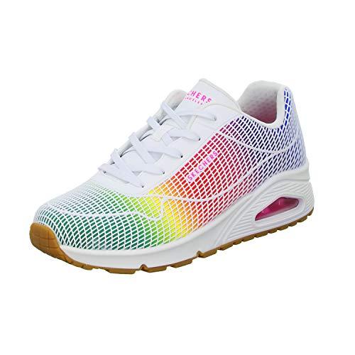 Skechers 155131/WMLT UNO-Eye Catching Damen Sneaker Turnschuhe weiß/bunt, Größe:38, Farbe:Weiß