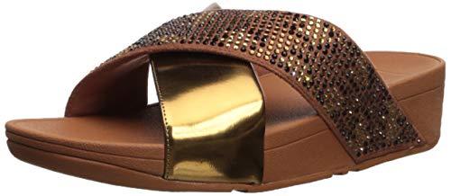 FitFlop Women's LULU Leopard-Crystal Sandal, Bronze, 8 M US