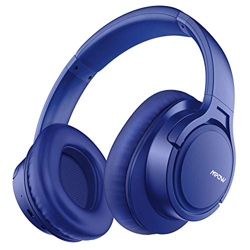 Mpow H7 Cascos Bluetooth Diadema, 25hrs de Reproducir, Hi Fi Sonido, Cascos Bluetooth Inalámbricos con Micrófono Incorporado, Auriculares Bluetooth Diadema para TV, Móvil, PC, Azul