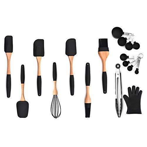 WSYW Utensilios de cocina juego de 11 piezas antiadherentes utensilios de cocina de silicona resistente al calor utensilios de cocina para hornear y cocinar utensilios de cocina buen ayudante negro