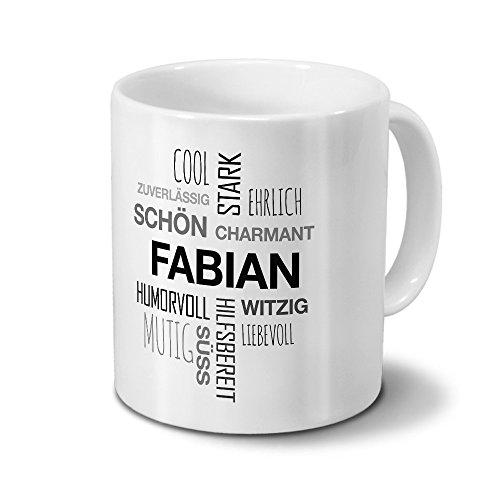 printplanet Tasse mit Namen Fabian Positive Eigenschaften Tagcloud - Schwarz - Namenstasse, Kaffeebecher, Mug, Becher, Kaffeetasse