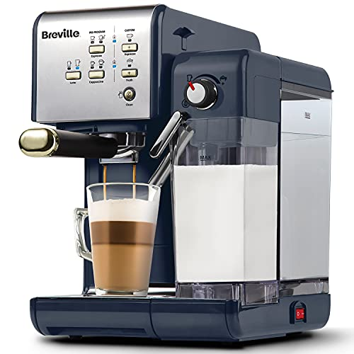 Breville One-Touch CoffeeHouse Coffee Machine | Espresso, Cappuccino and Latte Maker | 19 Bar Italian Pump | Automatic Milk Frother | ESE Pod Compatible | Navy [VCF145]