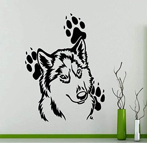 Pegatinas De Pared Murales 45X60Cm Cabeza De Lobo Con Huellas Vinilo Tatuajes De Pared Pegatinas Animales Domésticos Impermeables Murales De Papel Tapiz De Arte