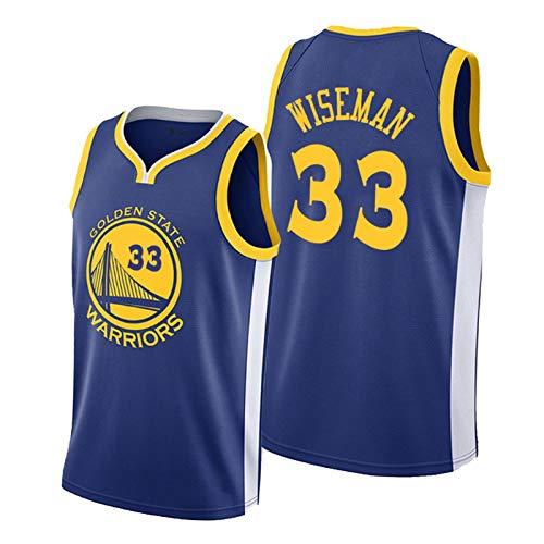 CLKJ # 33 Warriors Wiseman Basketball Jersey, Secado rápido de los Hombres Camiseta cómoda de Malla cómoda Camiseta Blue-XXL