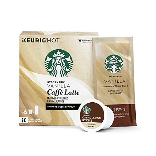 Starbucks Medium Roast K-Cup Coffee Pods — Vanilla Caffè Latte for Keurig Brewers — 4 boxes (24 pods total)