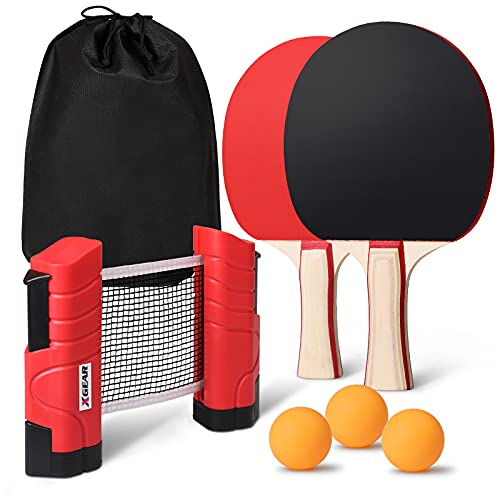 XGEAR Set de Tennis de Table,2 Raquette Ping Pong De Peuplier,3 Balle, 1 Sac,1 Filet Réglable, Filet de Voyage Portable, Accessoires pour Intérieur et Extérieur pour Tous Les Ages (Rouge)