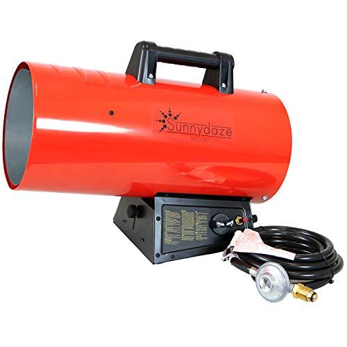 Sunnydaze 125,000 BTU Forced Air Propane Heater - Portable Heat for Construction Sites -...
