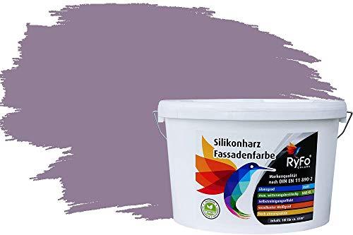 RyFo Colors Silikonharz Fassadenfarbe Lotuseffekt Trend Blasslila 10l - bunte Fassadenfarbe, weitere Violett Farbtöne und Größen erhältlich, Deckkraft Klasse 1