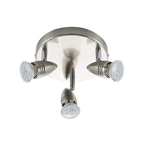 ELC LED Deckenlampe rund, schwenkbar & drehbar, 3 flammig, inkl. 3 x 5W GU10 LED Leuchtmittel, LED Deckenleuchte Deckenstrahler warmweiss, Metall nickel matt chrom, Deckenspot Spot Strahler (3x400lm