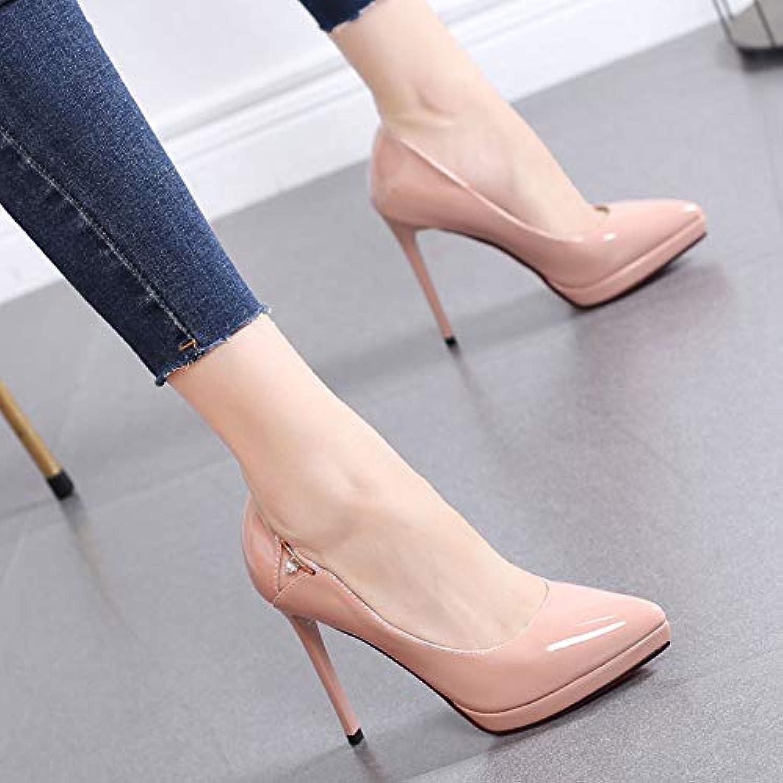 HRCxue Pumps Hochhackige Schuhe Frauen fein mit Spitzen flachen Mund einzelne Schuhe Wilde professionelle Frauen Schuhe 11 cm Schuhe Frauen    Online Store    New Style    Erste Qualität