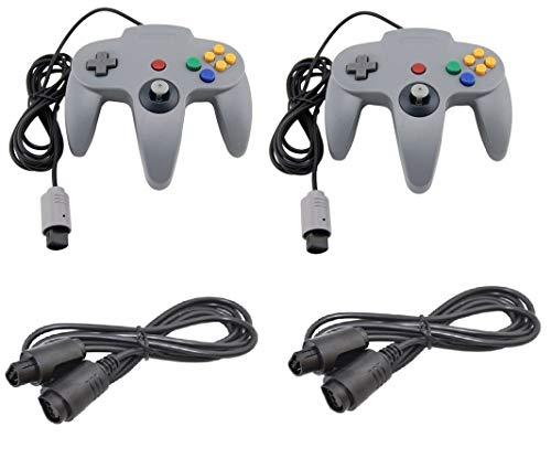DARLINGTON & Sohns 2 Graue Controller für Nintendo 64 N64 Joystick Grau Gamepad Joypad + Verlängerung Extansion Verlängerungskabel Gamepad