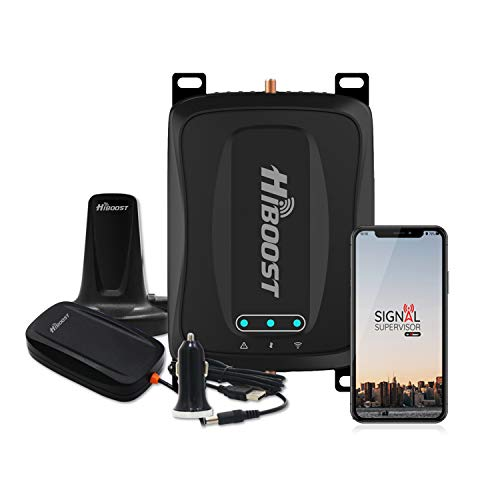 HiBoost Travel 4G 2.0 Mobile Cell Phone Signal Booster Extender Amplifier for Car and Truck - Compatible with All Single Carrier for T&T, T-Mobile, Verizon, Sprint, Straight Talk, U.S. Cellular
