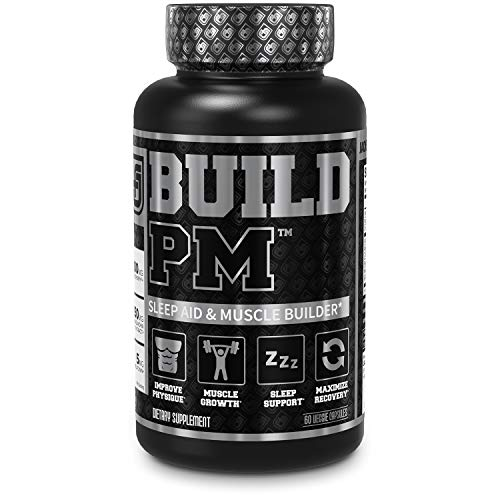 Build PM Night Time Muscle Builder & Sleep Aid - Post Workout Recovery & Sleep Support Supplement w/VitaCherry Tart Cherry, Ashwagandha, Melatonin, More - 60 Natural Veggie Pills
