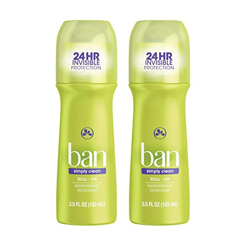 Ban Simply Clean 24-hour Invisible Antiperspirant, 3.5oz Roll-on Deodorant, 2-pack, Underarm Wetness Protection, with Odor-fighting Ingredients