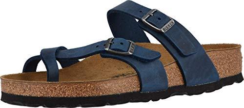 Birkenstock Mayari Birko Flor, Damen Pantoffel, Blau - Geöltes Leder, blau - Größe: 35.5 EU