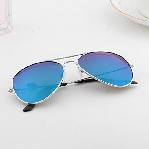 BM südkorea runde Sonnenbrille Lady individuelle gemajing Elegante Auge Sonnenbrille männer Flut,hellblaue Film (Bag) Silber.