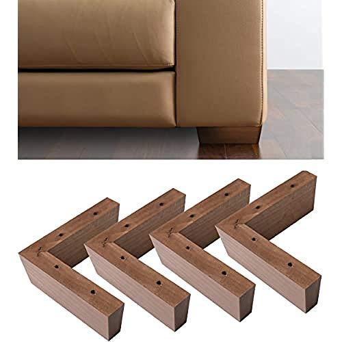 IPEA 4X Piedini in Legno Modello Angolare per Divani, Mobili, Armadi – Set di 4 Gambe ad Angolo Colore Noce, Altezza 50 mm