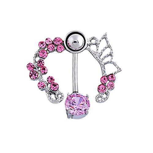 Pixnor Décorées de Style creux strass femmes nombril anneau Stud de piercing Stud