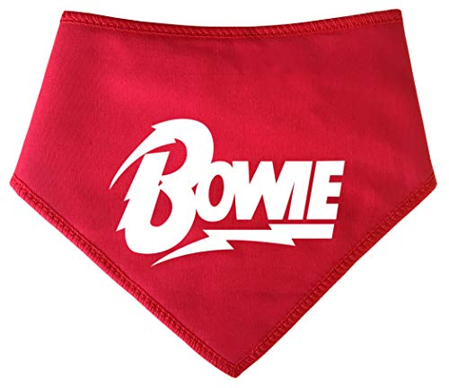 Spoilt Rotten Huisdieren S4 Bowie Ventilator, Groot, Rode Hond Bandana. Ziggy Stardust Glam Rock Voor Retro 1970 Music Fan. Geschikt voor Husky, GSD, Newfies & Chow Chow Sized Dogs