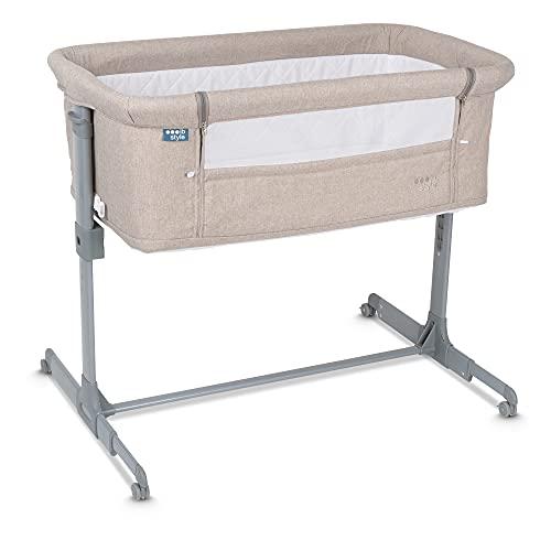 ib style® Aluna 2 in 1 Babybett | Beistellbett | ! Inkl. Matratze / Moskitonetz / Transporttasche | Höhenverstellbar | Mit Wiegefunktion | Sandy