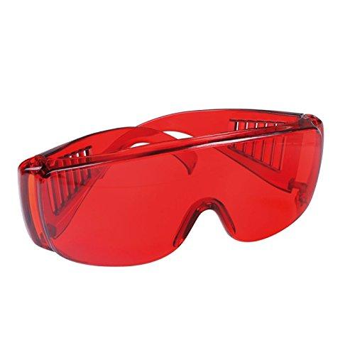 Schutzbrille rot transparent getönt, Brille, Arbeitsbrille, für Brillenträger geeignet, Augenschutz, 1 Stück