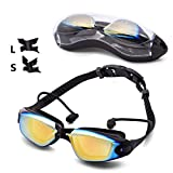 Swim Goggles Swimming Goggles No Leaking Anti Fog UV Protection Triathlon Swim Goggles with Free Protection Case for Adult Men Women Youth Kids Child Black