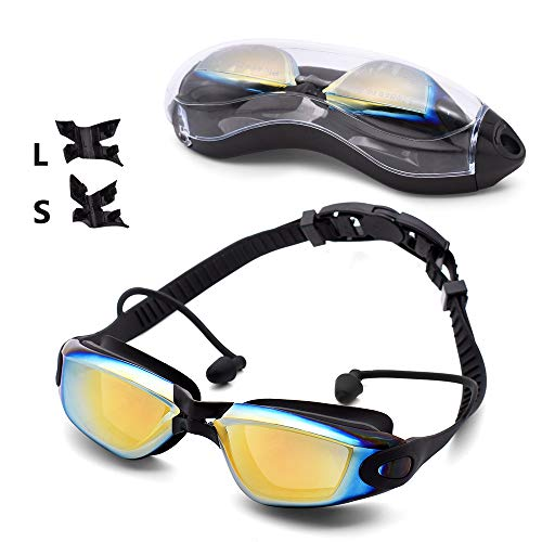Swim Goggles,No Leaking Anti Fog UV Protection Triathlon Equipment Swimming Goggles with Mirrored & Clear Free Protection Case for Adult Men Women Youth Teens Kids Child
