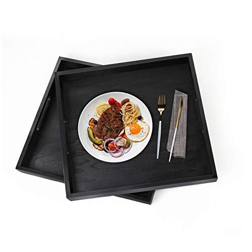 Surmounty 2 bandejas decorativas de madera, cuadradas, para té, desayuno, comida, bebidas, 30 x 30 x 3,9 cm, color negro