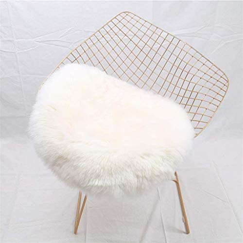 Faux Lammfell Schaffell Teppich, HEQUN Lammfellimitat Teppich Longhair Fell Optik Nachahmung Wolle Bettvorleger Sofa Matte (Weiße, 45 X 45 cm)