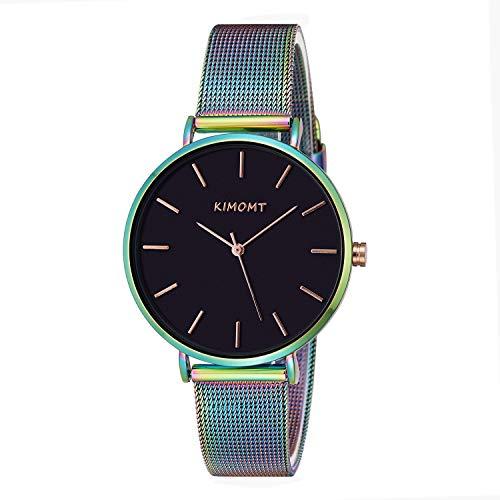 KIMOMT Relojes de pulsera para mujer, correa de piel, relojes de cuarzo de lujo, resistentes al agua, reloj creativo para mujeres y niñas, Banda de malla azul,