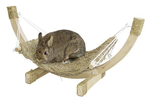 Kerbl 82796 Kaninchen Grashängematte Siesta mit Holzgestell Kleintier Hängematte