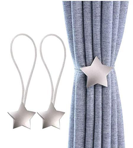 YunNasi Alzapaños magnéticos para cortina de metal con imán para decoración en el hogar, oficina, paquete de 2 (estrella, plateado)