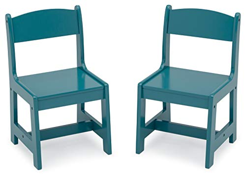 Delta Children MySize Wood Kids Chairs for Playroom [Pack of 2], Teal
