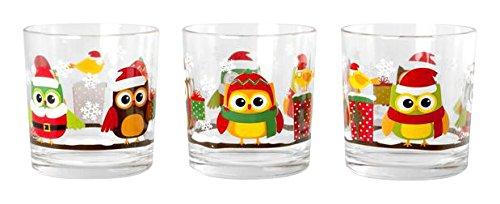 HOME búhos Navidad Unidades 6Vasos Agua, CL 22, Cristal, Multicolor, 28x 14x 9cm