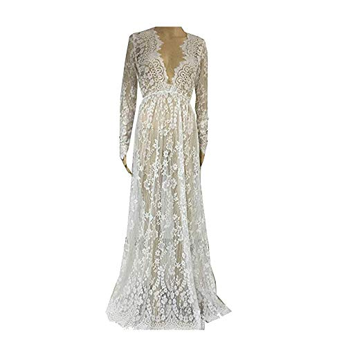 Backgarden Women Floral Lace Deep V-Neck Long Sleeves Bridesmaid Maxi Dress (Size 12) White
