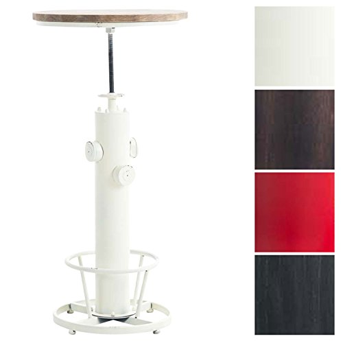 CLP Stehtisch RUHR mit massiver Tischplatte (Kiefernholz) und Metallgestell | Bartisch mit Fußablage im Industrial-Look | In verschiedenen Farben erhältlich Antik Weiß