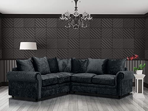 HHI Luxurious Black Crushed Velvet Corner Sofas & couches For living room - Sale to UK Main Land