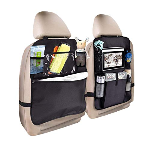 "Standard Car Seat Back Organizer Kick Mats Back of Seat Protectors with Clear Window 10"" Holder Compatible with Ipad and Multi-Pocket Travel Storage Bag Organizer-2pack"