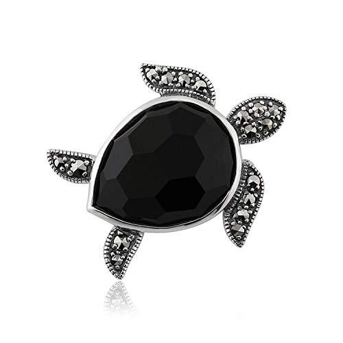 Gemondo Turtle Brooch, 925 Sterling Silver 7.50ct Black Onyx & 0.29ct Marcasite Turtle Brooch Pin