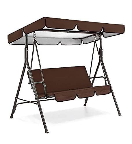 Patio Swing Canopy Waterproof Top Cover Set-Replacement Canopy Cover for 2/3-Seater-Swing Chair Awning Glider Swing Cover for Garden/Patio/Poolside/Balcony Swing Chairs (Coffee, 56x47x7)
