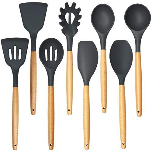 Juego de herramientas de cocina de Hanhou Herramienta de cocina resistente al calor Manija de madera de silicona Sin paletas de silicona de 9 piezas Negro Negro. Dark gray-8-piece set