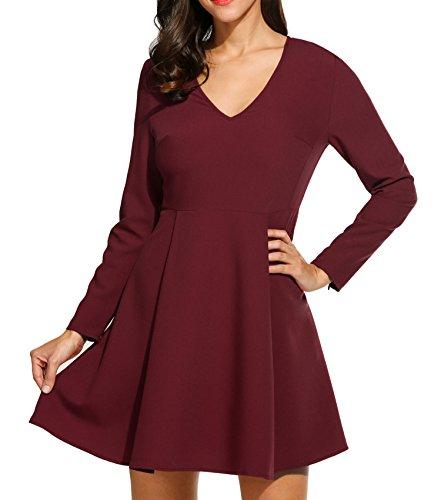 Meaneor Damen Kleid Partykleid Winterkleid Sexy Vintage Langarm Slim Fit V-Ausschnitt