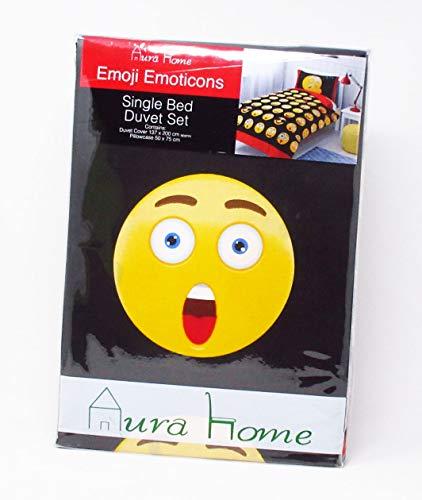 Aurahome (TM) Single Emoji Emoticons Duvet and Pillowcase Set (Single)