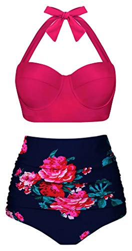Aixy Women Vintage Swimsuits Bikinis Bathing Suits Retro High Waisted Polka Underwired,Halter Pink+Floral,L